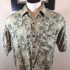 TOMMY BAHAMA Mens Floral 100% Silk Button Shirt  L